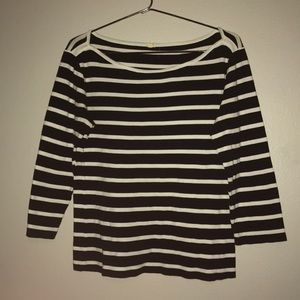 White and black 3/4 sleeve shirt from j.crew